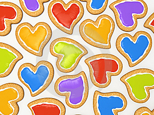 Multicoloured Heart Cookies Stock Photos - Image: 7729243