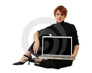 Woman With Laptop Royalty Free Stock Photo - Image: 7730015