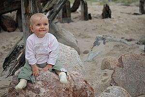 Child On  Stone Stock Image - Image: 7732401