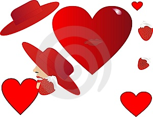 Hearts,hats And Strawberries Royalty Free Stock Image - Image: 7732576