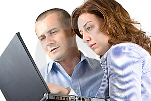 Business Woman And Man Working Together Stock Photos - Image: 7733053
