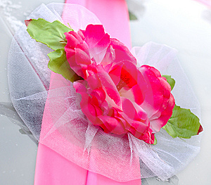 Wedding Decoration On Black Limousine Car. Stock Image - Image: 7734181