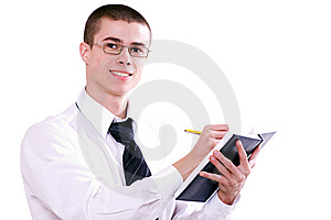 Young Fellow On A Seminar 3 Royalty Free Stock Image - Image: 7734756