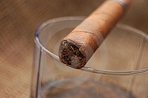 Cuban Cigar On Glass With Whiskey Stock Images - Image: 7736694