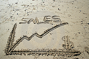 Sales Graphic Draw In The Sand Stock Image - Image: 7736771
