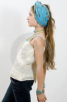 Fashion Girl Posing With Blue Scarf In Hair Royalty Free Stock Photos - Image: 7736968