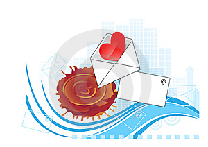 Design Element With Envelope And Heart. Stock Image - Image: 7743321