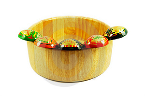 Russian Wooden Spoons On Wooden Bowl Royalty Free Stock Images - Image: 7744859