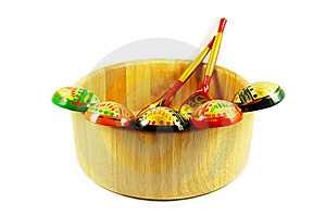 Russian Wooden Spoons On Wooden Bowl Royalty Free Stock Photos - Image: 7744868