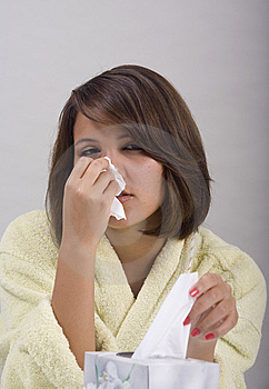 Young woman with a cold Free Stock Photography