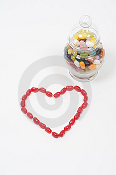 Jellybean Heart Candy Jar Royalty Free Stock Photos - Image: 7746088
