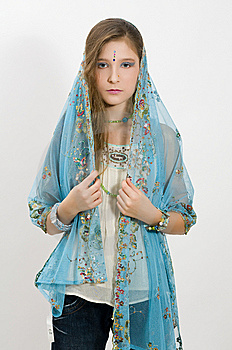Fashion Girl With Jewelry And Scarf Stock Image - Image: 7749321