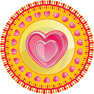 DECOR WITH HEARTS ON A CIRCLE Stock Image - Image: 7750861