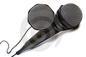 Two Black Wired Karaoke Microphones. Royalty Free Stock Image - Image: 7751576