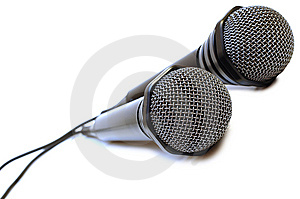 Two Black Wired Karaoke Microphones. Royalty Free Stock Photos - Image: 7751588