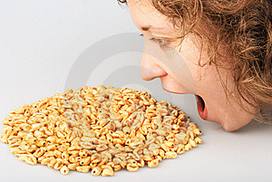 Popped Wheat Grains And Girl Royalty Free Stock Photo - Image: 7751865