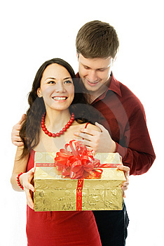 Young Man Gives A Present To His Wife Royalty Free Stock Images - Image: 7755649