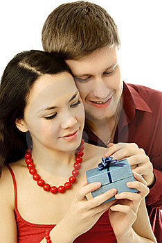 Young Man Gives A Present To His Girl Royalty Free Stock Photography - Image: 7755737