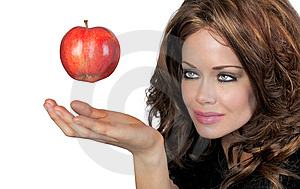 Woman With Apple Stock Image - Image: 7756451