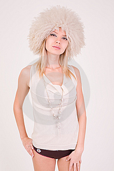 Upset Girl In Furry Hat Stock Photography - Image: 7759562
