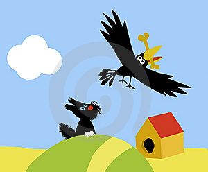 Small Dog And Crow Royalty Free Stock Photography - Image: 7759877