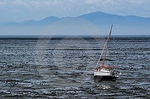 Beached Sailboat During A Dry Spell Royalty Free Stock Image - Image: 7761246