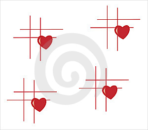 Lines With Four Heart Royalty Free Stock Images - Image: 7762829