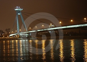 New Bridge In Bratislava, UFO Royalty Free Stock Photography - Image: 7762987