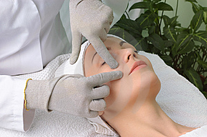 Beauty salon series. facial massage Stock Photos
