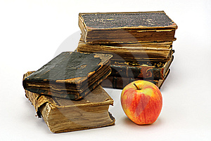 Old Religious Books And Apple Royalty Free Stock Photography - Image: 7765987