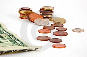 Five Dollar And Coins Stock Photo - Image: 7766260
