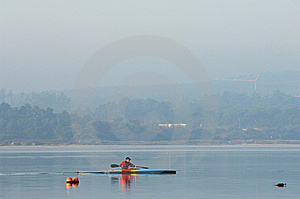 Sillouette Of Man Kayaking Stock Photography - Image: 7770042