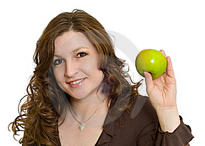 Woman Smiling Holding Healthy Fresh Green Apple Royalty Free Stock Photo - Image: 7770145
