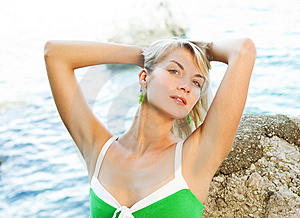 Woman Relaxing Near The Ocean Stock Photography - Image: 7772702