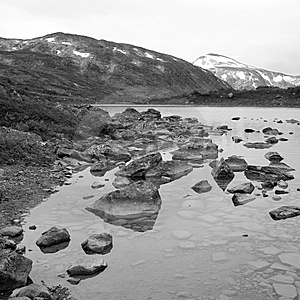 Black-and-white Picture Of A Lake In Norway Royalty Free Stock Photography - Image: 7772787