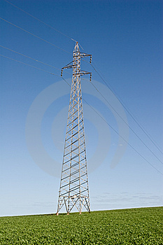 Power Lines Though A Green Field Stock Image - Image: 7774561