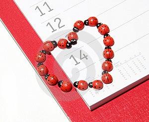 Ladybug Valentine Calendar Royalty Free Stock Image - Image: 7777476