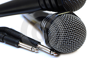 Two Black Wired Karaoke Microphones. Stock Image - Image: 7777511