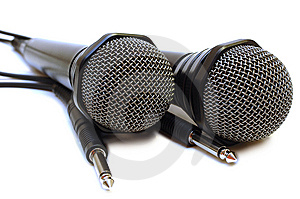 Two Black Wired Karaoke Microphones. Royalty Free Stock Images - Image: 7777589