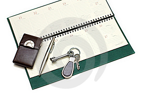 Diary, Handle And Keys Stock Image - Image: 7780051