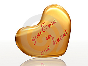 You & Me In One Heart In Golden Heart Royalty Free Stock Photography - Image: 7780057