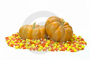 Mini Pumpkins In Candy Corn Royalty Free Stock Photos - Image: 7782188