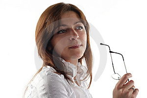Business Woman Hold Glasses Stock Photo - Image: 7783580