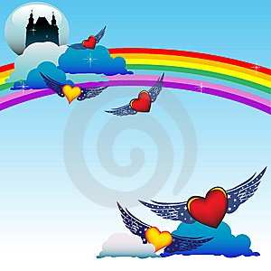 Hearts Flying Among Clouds Royalty Free Stock Images - Image: 7784209