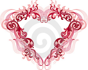 Red Heart With Filigree Ornament Stock Photography - Image: 7785802