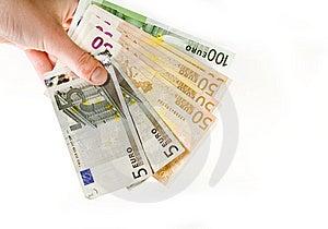 Mano Con El Euro Aislado En Blanco Imágenes de archivo libres de regalías - Imagen: 7789849
