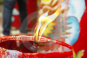 Candle Light On Chinese Temple Royalty Free Stock Photo - Image: 7791245