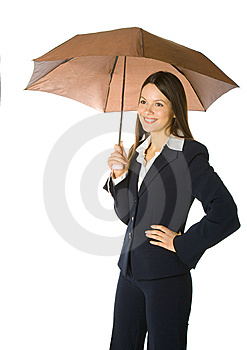 Portrait Of A Business Woman Holding A Umbrella Stock Image - Image: 7793741