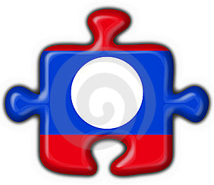 Laos Button Flag Puzzle Shape Royalty Free Stock Image - Image: 7797166