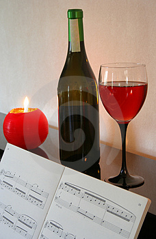 Piano and wine Stock Photos